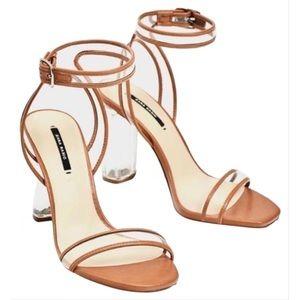 Zara Lucite Clear & Tan Heels Sandals Size 37 / 7